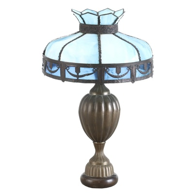 Blue Slag Glass and Repoussé Copper Shade on Lamp Base, Early 20th Century