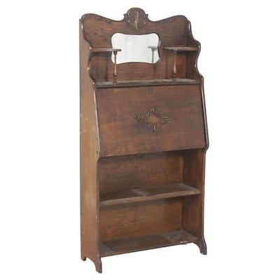 Antique Larkin Drop Front Oak Secretary Desk with Mirror