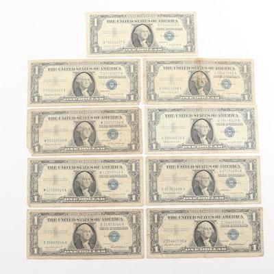 Nine $1 U.S. Silver Certificates