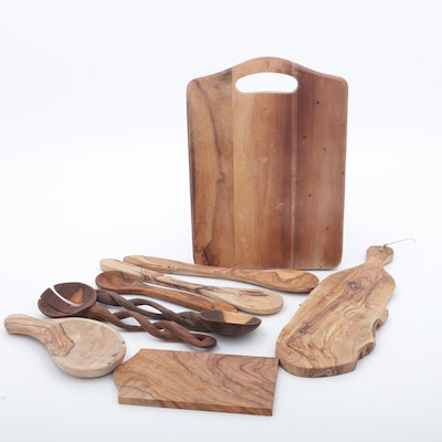 Olive Wood Kitchen Tool Collection and Maple Cutting Board