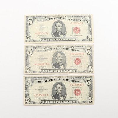 Three Series 1963 $5 Legal Tender Notes