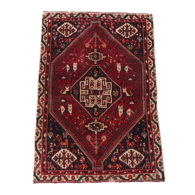 Hand-Knotted Qashqai Shiraz Pictorial Wool Rug