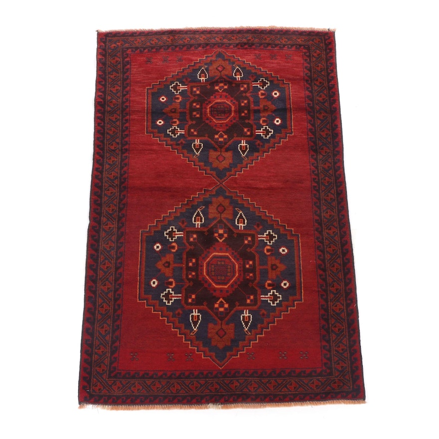 Hand-Knotted Pakistani Baluch Wool Rug