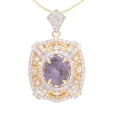 Sterling Silver Corundum and White Sapphire Pendant Necklace