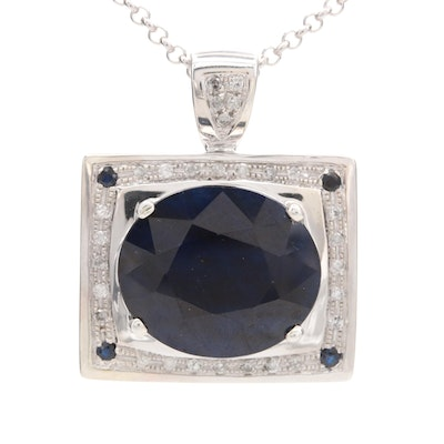 Sterling Silver Corundum and Diamond Pendant Necklace