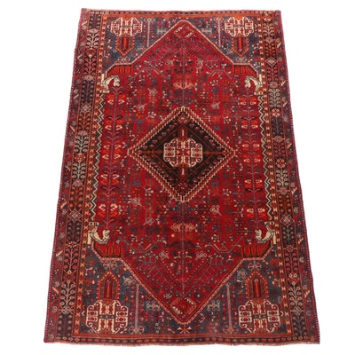 Hand-Knotted Persian Abadeh Shiraz Wool Rug