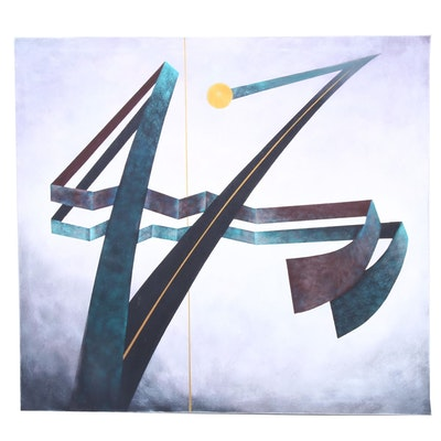 Abstract Geometric Oil Painting