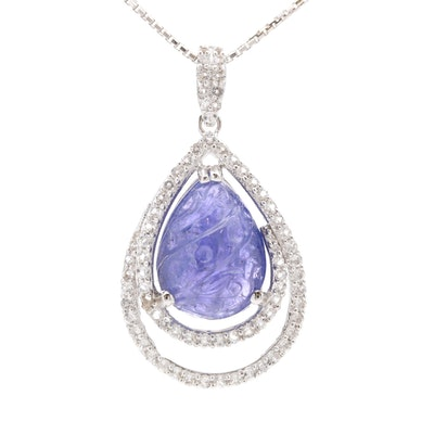 Sterling Silver Carved Tanzanite and White Topaz Teardrop Pendant Necklace