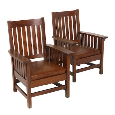 Pair of Mission Style Wooden Armchairs with Leather Seats