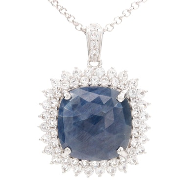 Sterling Silver Corundum and White Topaz Pendant Necklace