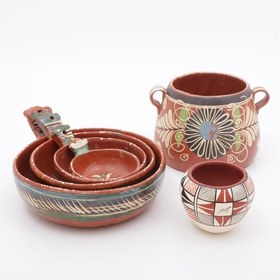 Tafoya Acoma Vase with Mexican Hand-Painted Earthenware Cookware