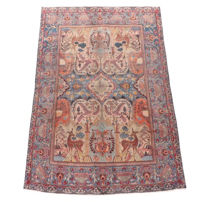 Hand-Knotted Persian Pictorial Garden Wool Rug with Gryphons