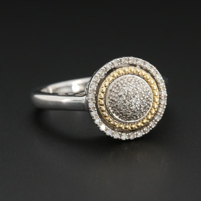 Sterling Silver Diamond Pavé Ring with 14K Yellow Gold Accent