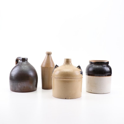 Salt Glazed Stoneware Crock, Bottle, and Jugs, Late 19th Century