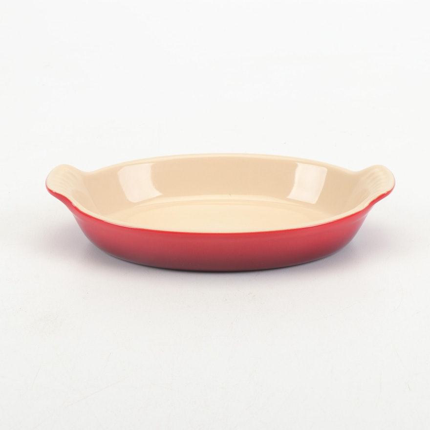 Le Creuset Small Red Stoneware Baking Dish, Contemporary