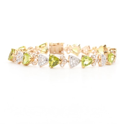 Sterling Silver Peridot and White Sapphire Bracelet