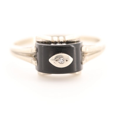 10K White Gold Black Onyx Ring with Diamond Accent