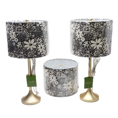 Kate Spade New York Table Lamps with Black and White Floral Shades