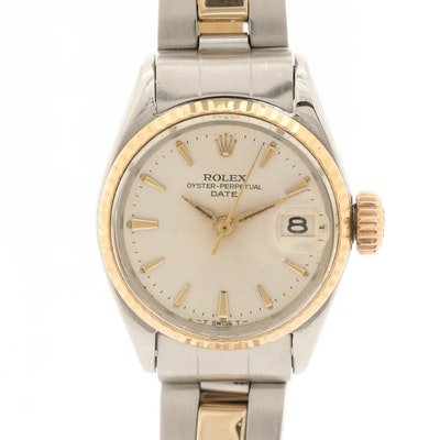1969 14K Gold and Stainless Steel  Rolex Oyster Perpetual Date Wristwatch