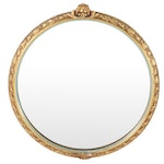 Antiqued Gold Painted Baroque Style Round Mirror, Mid to Late 20th Century