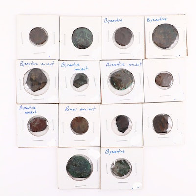Fourteen Ancient Byzantine Empire Bronze Coins, ca. 500-1200 A.D.