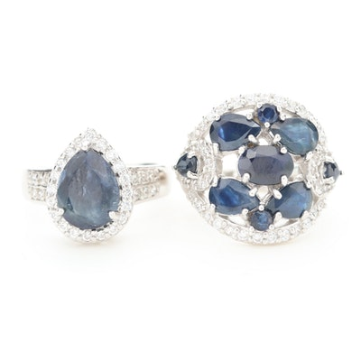 Sterling Silver Blue Sapphire and Cubic Zirconia Rings