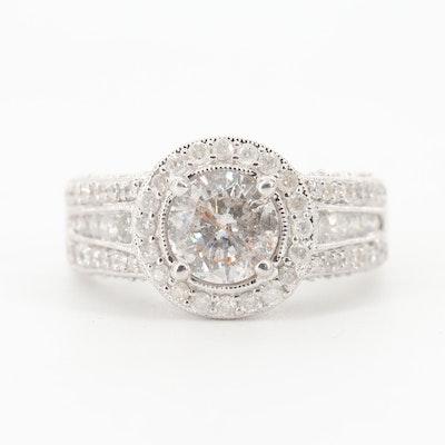 14K White Gold and 2.53 CTW Diamond Ring