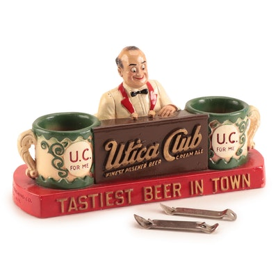 Utica Club Bartender Bar Caddy and Bottle Openers, Vintage