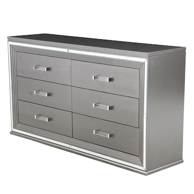 Homelegance Silvertone Painted Chest with Hidden Storage, Contemporary