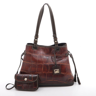Dooney & Bourke Crocodile Embossed Leather Tote and Pochette