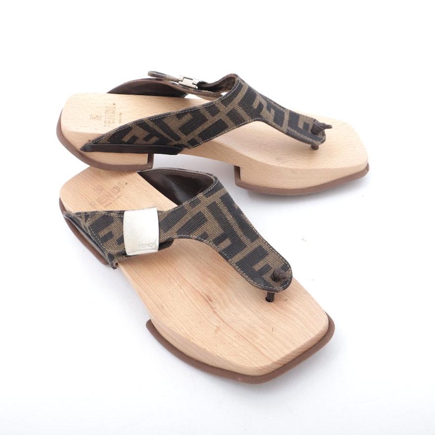 Fendi Zucca Canvas Wood Soled Sandals