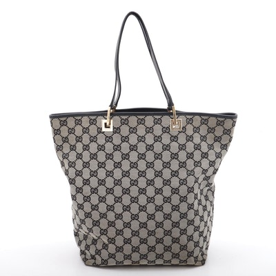 Gucci GG Monogram Canvas Tote Trimmed in Black Leather, Vintage