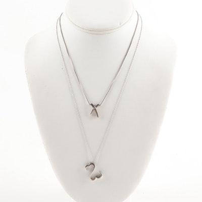"Sterling Silver and Diamond ""X"" and Open Heart Pendant Necklaces"