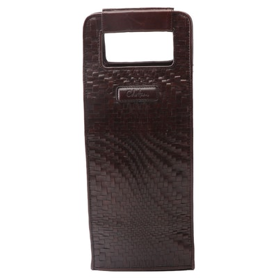 Cole Haan Woven Brown Leather Wine Bottle Tote