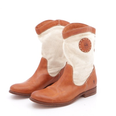 Frye Canvas and Leather Melissa Riding Boots
