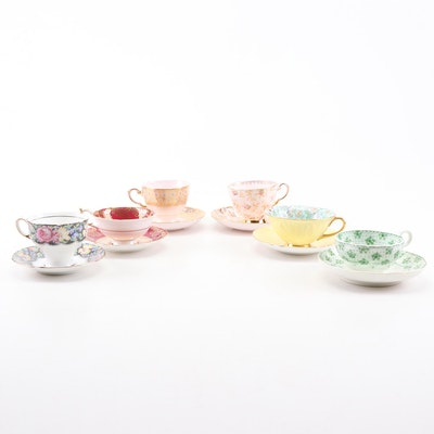 "Shelley ""Marguerite"" and Paragon Porcelain Tea Cups and Saucers"
