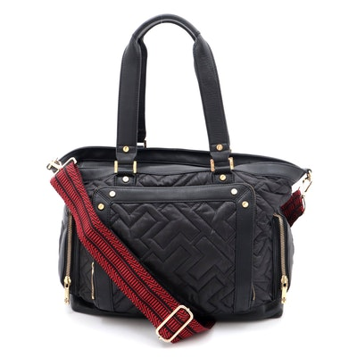 Tory Burch Black Leather and Quilted Nylon Crossbody Satchel with Shoulder Strap
