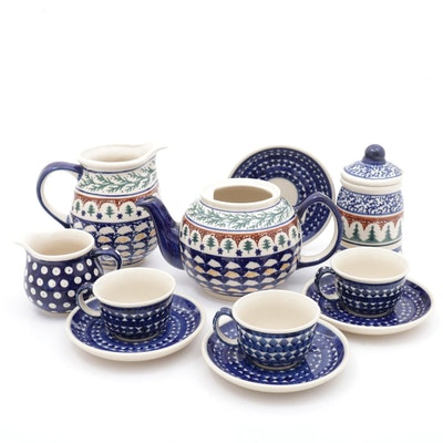 "Boleslawiec Polish Cobalt and ""Evergreen"" Pine Tree Pottery"