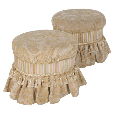 Upholstered Oval Ottomans, Set of Two