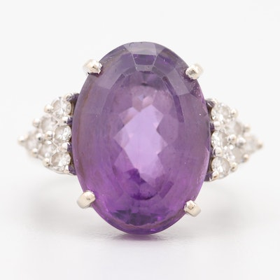 18K White Gold 12.23 CT Amethyst and Diamond Ring