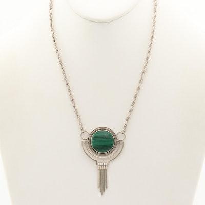 Signed Southwestern Sterling Silver Malachite Pendant Necklace