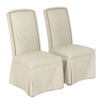 Upholstered Parson's Chairs, Pair