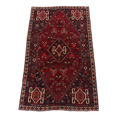 Hand-Knotted Persian Qashqai Shiraz Wool Rug