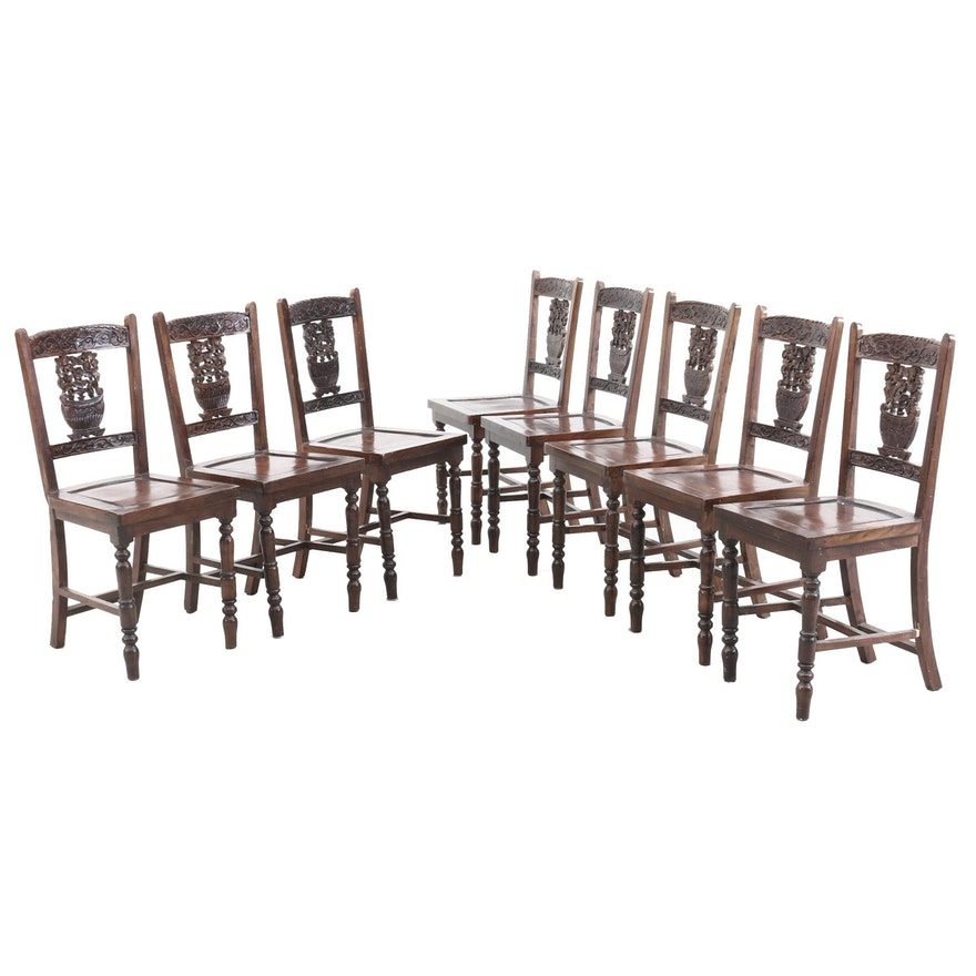 Set of Eight Carved Chinese Side Chairs, Early to Mid-20th Century