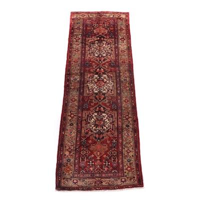 Hand-Knotted Persian Hamadan Wool Carpet Runner