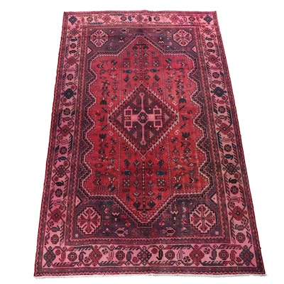 Hand-Knotted Overdyed Pak-Persian Shiraz Pictorial Wool Rug
