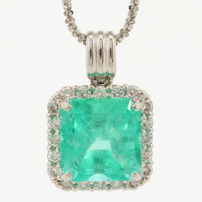 Platinum 7.12 CT Emerald and Diamond Pendant Necklace