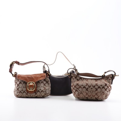 Coach Signature Jacquard Canvas and Leather Trim Shoulder Bags