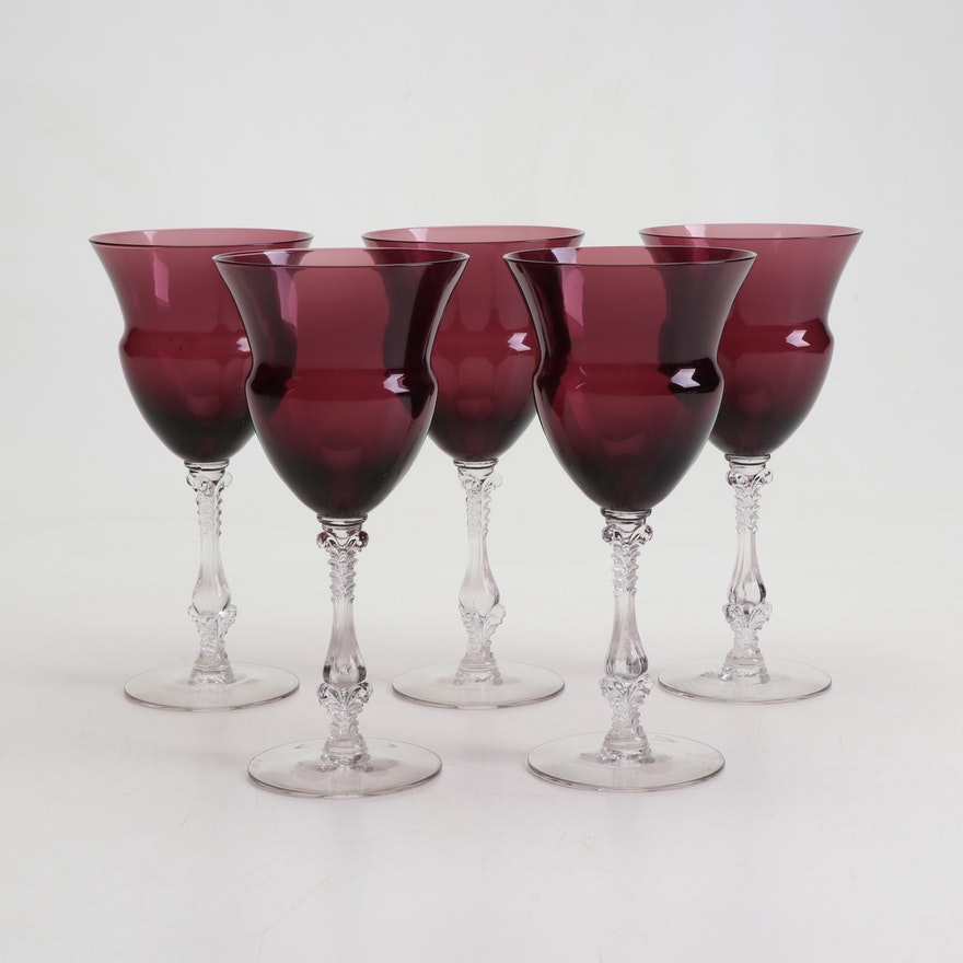 "Cambridge Glass ""Amethyst"" Water Goblets"
