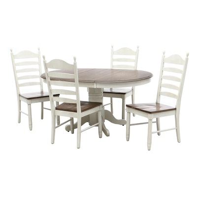 Oak and Painted Extension Table with Ladder-Back Chairs, Contemporary